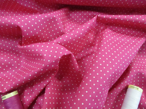 Pin Spot White on a Cerise Background 100% Cotton