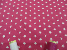 Load image into Gallery viewer, Stars 8mm White on a Cerise Background 100% Cotton