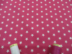 Stars 8mm White on a Cerise Background 100% Cotton