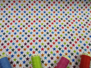 Stars 8mm Multi Color on a White Background 100% Cotton