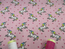 Load image into Gallery viewer, Unicorns & Stars on a Candy Pink Background Poly Cotton