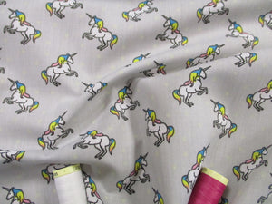 Unicorns & Stars on a Silver Grey Background Poly Cotton