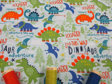 Load image into Gallery viewer, Dinosaur Adventure on a Pale Blue Background 100% Cotton