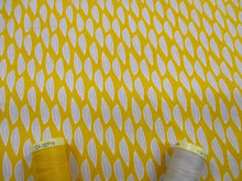 Load image into Gallery viewer, Fern & Geometric Designs Small Leaves Silver Grey on a Mustard Background 100% Cotton
