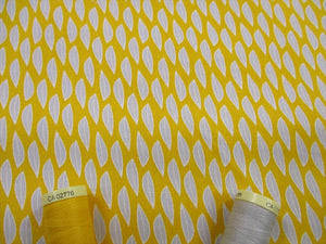 Fern & Geometric Designs Small Leaves Silver Grey on a Mustard Background 100% Cotton