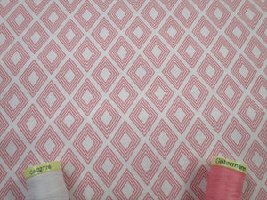 Fern & Geometric Designs Diamond Geo Blush Pink & White 100% Cotton
