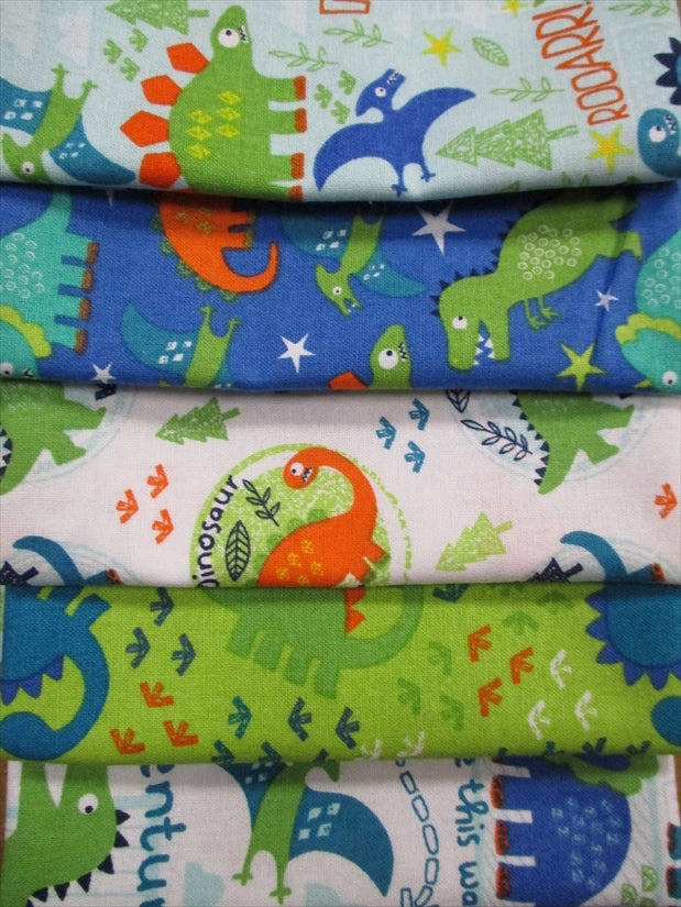 Cute Little Dinosaur Bright Color Fat Quarter Bundle  100% Cotton