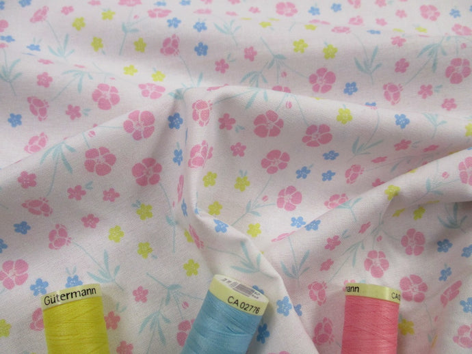 Miffy Little Pastel Flowers on a White Background 100% Cotton