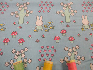 Miffy Toadstalls Trees & Flowers on a Sky Blue Background 100% Cotton