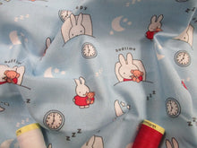 Load image into Gallery viewer, Miffy Sleepy Bedtime on a Sky Blue Background 100% Cotton
