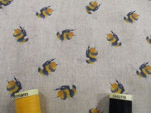 Linen Digital Little Bumble Bees on a Natural Background  80% Cotton 20% Polyester
