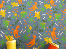 Load image into Gallery viewer, Cute Little Dinosaurs on a Petrol Blue Background Poly Cotton