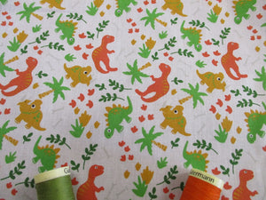 Cute Little Dinosaurs on a White Background Poly Cotton