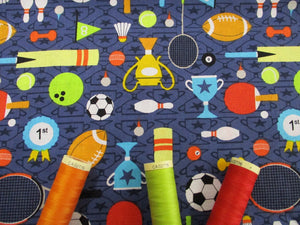 Sports Day Footballs, Tennis Rackets, Trophies etc... on a Denim Blue Background 100% Cotton