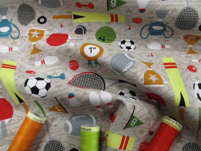 Sports Day Footballs, Tennis Rackets, Trophies etc on a Beige Background 100% Cotton