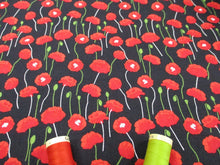 Load image into Gallery viewer, Poppies Bright Red on a Black Background 100% Cotton