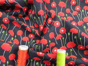 Poppies Bright Red on a Black Background 100% Cotton