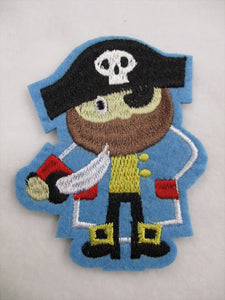 Pirate Sew on or Stick on Embroidered Fabric Motif 8.5cm x 8cm