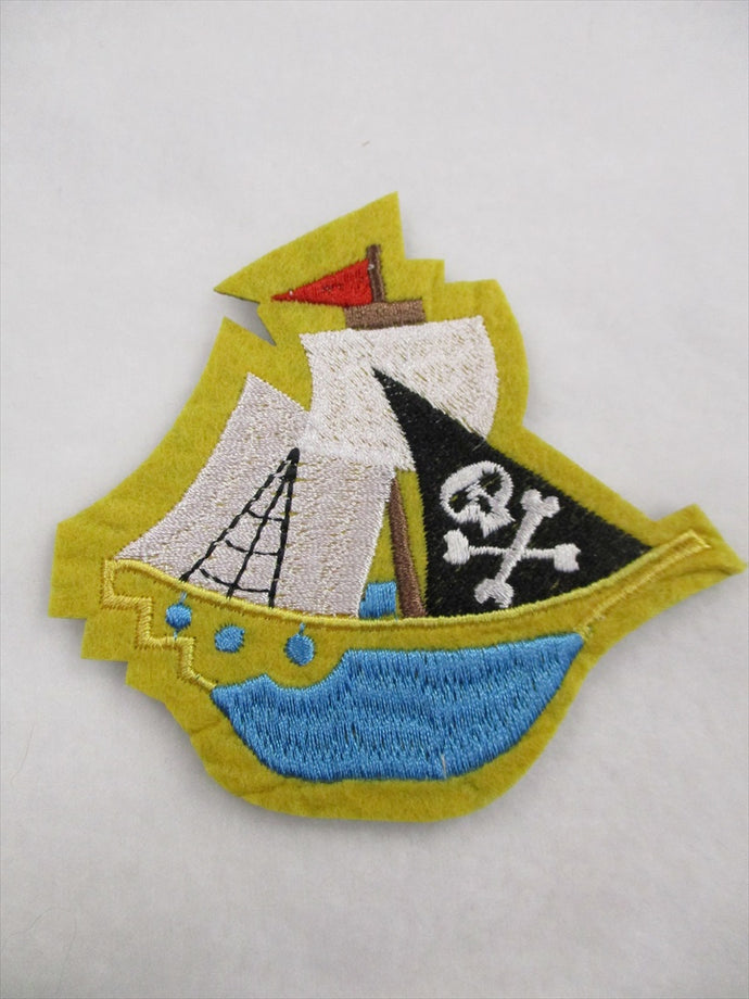 Pirate Ship Sew on or Stick on Embroidered Fabric Motif 8.5cm x 9.5cm