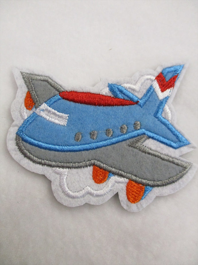 Airplane Sew on or Stick on Embroidered Fabric Motif 9.5cm x 9.5cm