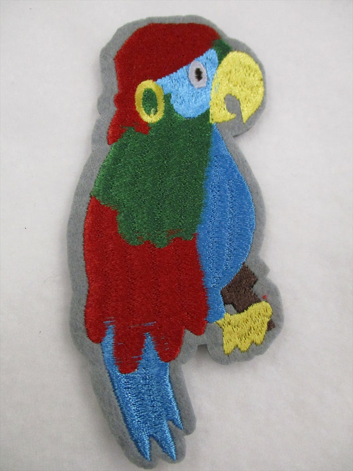 Parrot Sew on or Stick on Embroidered Fabric Motif 11cm x 5.5cm