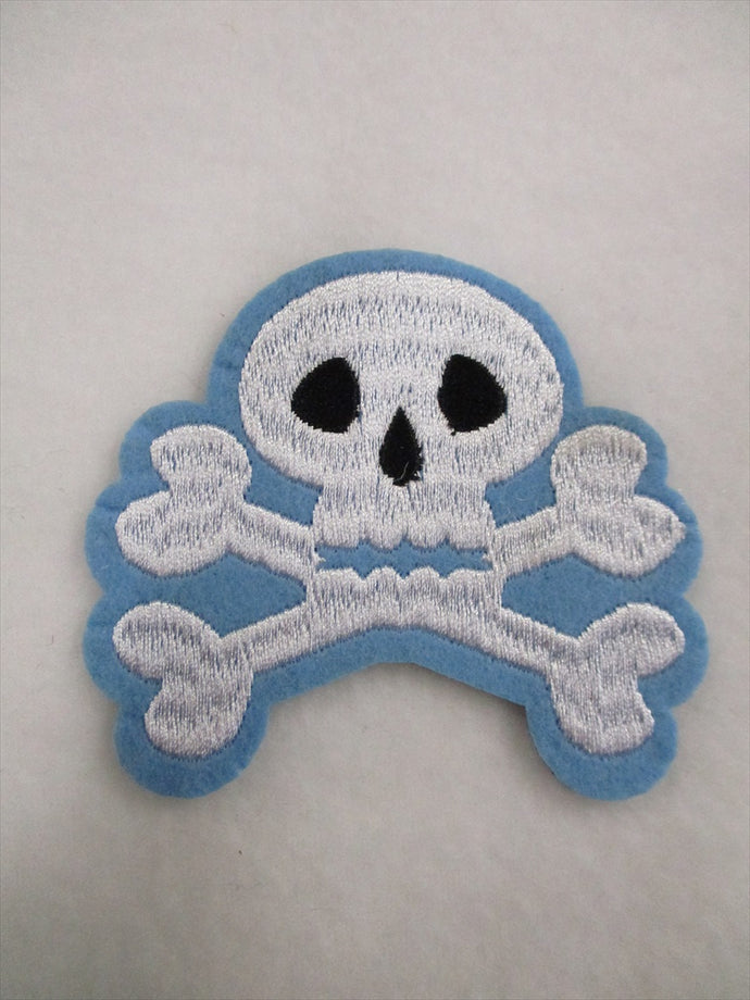 Skull Sew on or Stick on Embroidered Fabric Motif 7.5cm x 8cm