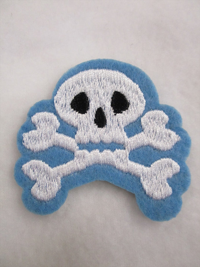 Skull Sew on or Stick on Embroidered Fabric Motif 6cm x 6cm