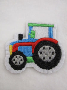 Tractor children Green 6.5cm x 5cm Patch Embroidered Sew or Iron on Badge