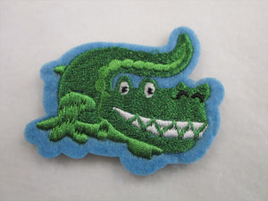 Crocodile Sew on or Stick on Embroidered Fabric Motif 5.5cm x 6.5cm