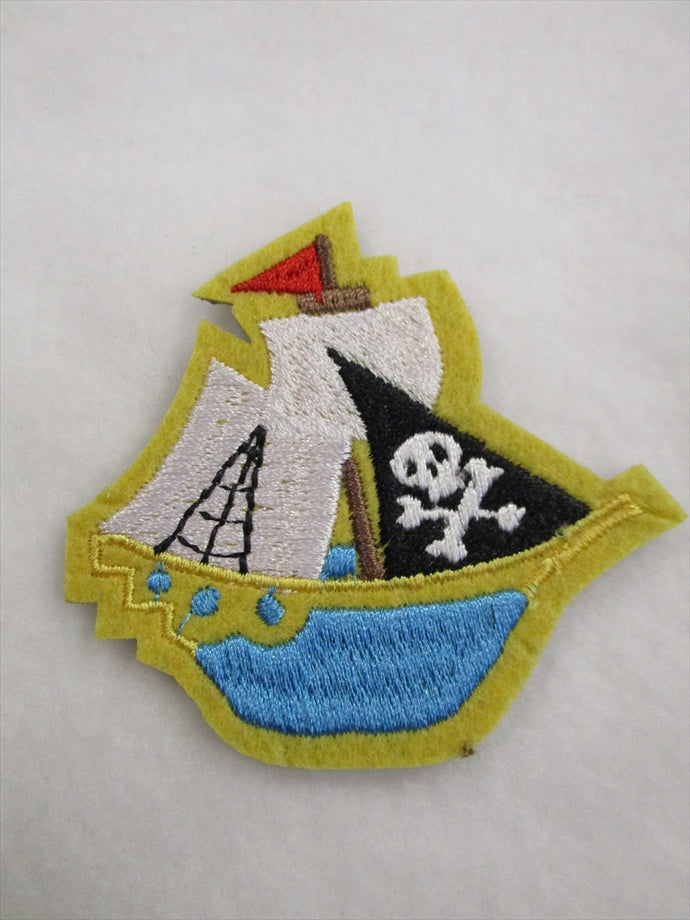 Pirate Ship Sew on or Stick on Embroidered Fabric Motif 6.5cm x 7cm