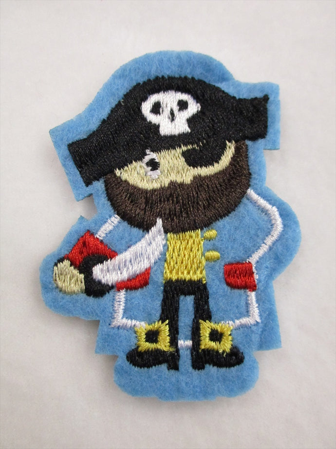 Pirate Sew on or Stick on Embroidered Fabric Motif 7cm x 5.5cm