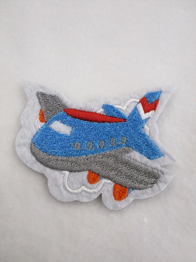 Airplane Sew on or Stick on Embroidered Fabric Motif 7cm x 7cm