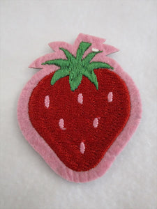 Strawberry Sew on or Stick on Embroidered Fabric Motif 8cm x 9.5cm