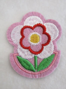 Flower Sew on or Stick on Embroidered Fabric Motif 6.5cm x 5.5cm
