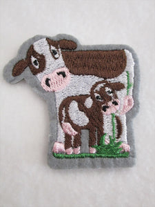 Cow & Calf Sew on or Stick on Embroidered Fabric Motif 6cm x 6cm