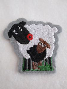 Sheep & Lamb Sew on or Stick on Embroidered Fabric Motif 6cm x 6cm