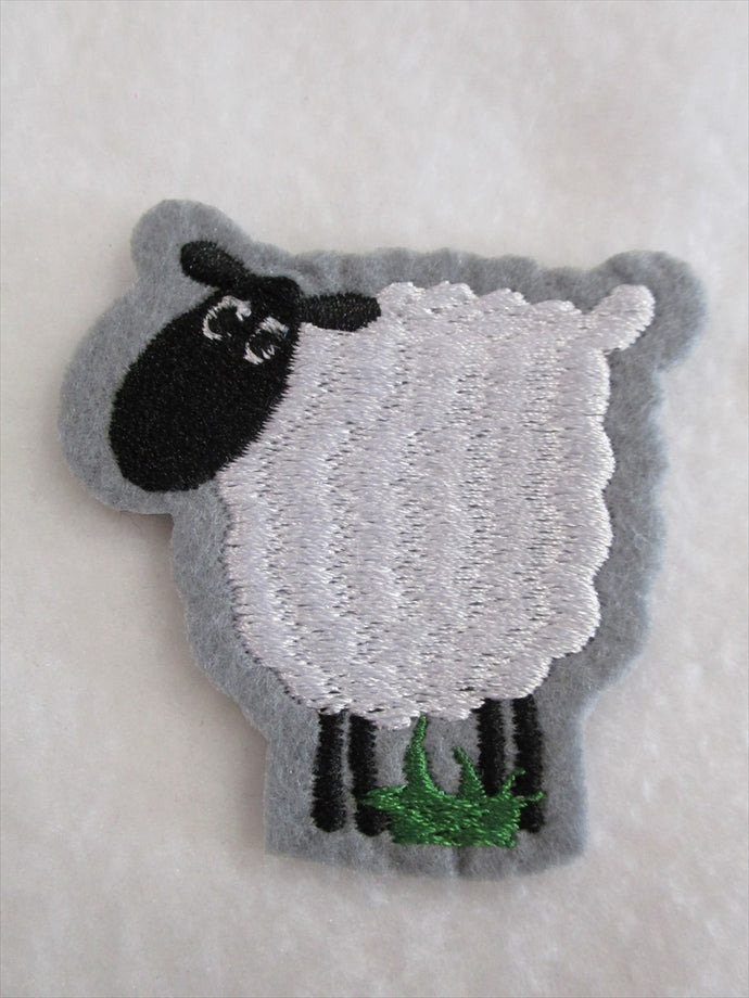 Sheep Sew on or Stick on Embroidered Fabric Motif 6cm x 6cm