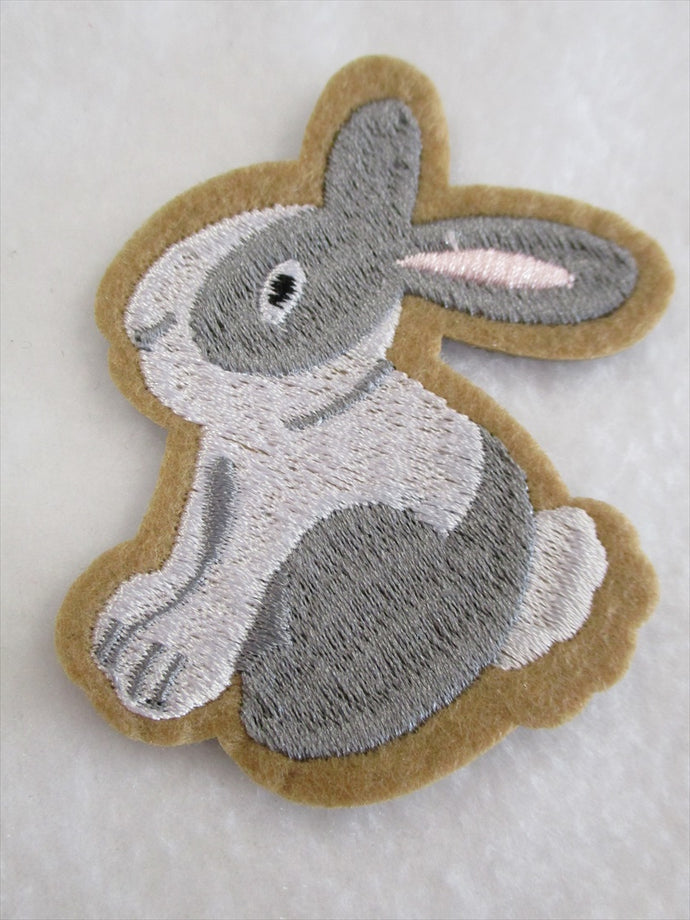 Bunny Rabbit Sew on or Stick on Embroidered Fabric Motif 7.5cm x 6cm