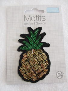 Sequin Pineapple Iron On or Sew on Embroidered Fabric Motif 8.5cm x 5cm