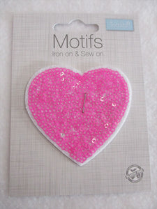 Pink Sequin Heart Iron On or Sew on Embroidered Fabric Motif 7cm x 7cm
