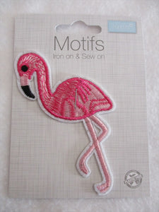 Sequin Flamingo Iron On or Sew on Embroidered Fabric Motif 10cm x 6cm