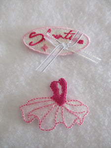 Ballerina Patch Iron On or Sew on Embroidered Fabric Motif 3.5cm x 4.5cm