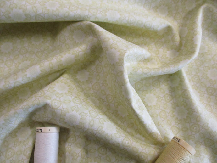 Clothworks Marcella Collection by Sue Zipkin Kaleidoscope Geometric Floral Light Green Tone-on-Tone 100% Cotton