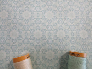 Clothworks Marcella Collection by Sue Zipkin Kaleidoscope Geometric Floral Mint Tone-on-Tone 100% Cotton