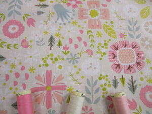 Riley Blake Designs Goldilocks Woodland Flowers on a Cream Background 100% Cotton