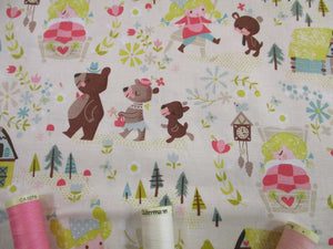 Riley Blake Designs Goldilocks and the Three Bears on a cream Background  100% Cotton