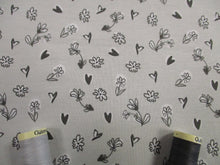 Load image into Gallery viewer, Little Flowers & Hearts on a Light Silver Grey Background Lovely Quality 200gr/m2 95% Cotton 5% Spandex