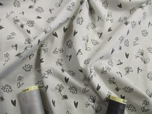 Little Flowers & Hearts on a Light Silver Grey Background Lovely Quality 200gr/m2 95% Cotton 5% Spandex