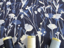 Load image into Gallery viewer, Jersey Floral Design Blue & Ivory on a Navy Background 96% Viscose 4% Lycra