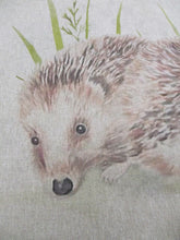 "Load image into Gallery viewer, Pop Art Prints Linen Digital Panel Hedgehog on a Natural Background 45cm x 45cm (18""x18"") 80% Cotton 20% Polyester"